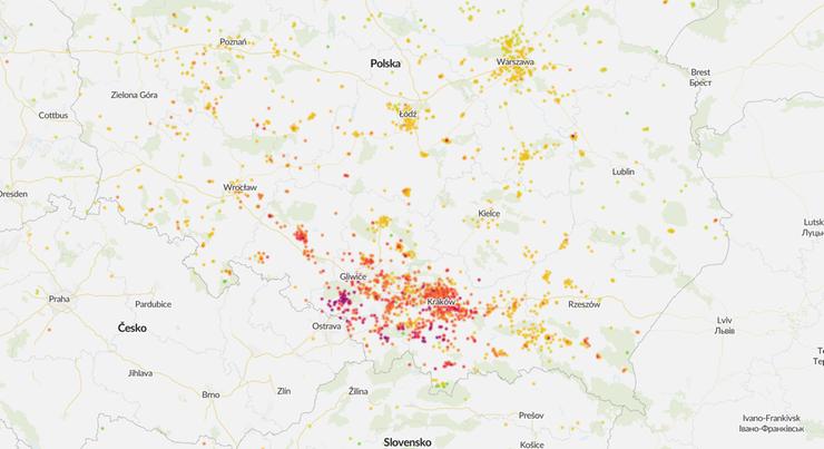 Jakość powietrza w Polsce o poranku 9 lutego