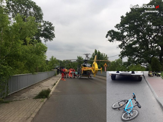 Jadący na rowerku chłopiec w wyniku zderzenia z autem dostawczym został poważnie ranny.