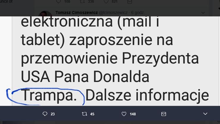 """Literówka Kancelarii Sejmu. Zaproszono na przemówienie prezydenta """"Trampa"""""""