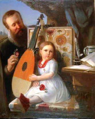 Jan Kochanowski z Urszulką, obraz Władysława Łuszczkiewicza
